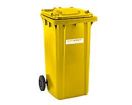 Großmülltonne aus Kunststoff, nach DIN EN 840 - Volumen 240 l, HxBxT 1067 x 580 x 730 mm - gelb