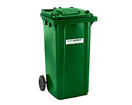 Großmülltonne aus Kunststoff, nach DIN EN 840 - Volumen 240 l, HxBxT 1067 x 580 x 730 mm - grün