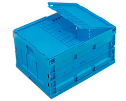 Faltbox aus Polypropylen - Inhalt 200 l, mit anscharniertem Deckel