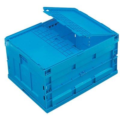 Faltbox aus Polypropylen - Inhalt 200 l, mit anscharniertem Deckel, blau