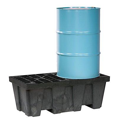 PE-Auffangwanne, mit großem Volumen, aus PE-Regenerat, für 2 x 200 l Fässer, Auffangvolumen 250 l