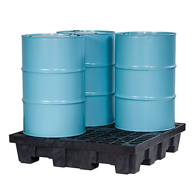 JUSTRITE PE-Auffangwanne, Wanne für 4 x 200 l Fässer, großes Volumen Auffangvolumen 276 l