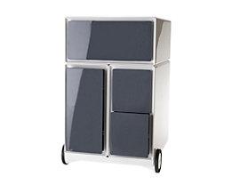 Caisson roulant en plastique - 1 tiroir, 1 tiroir pour dossiers suspendus, 2 tiroirs pour CD