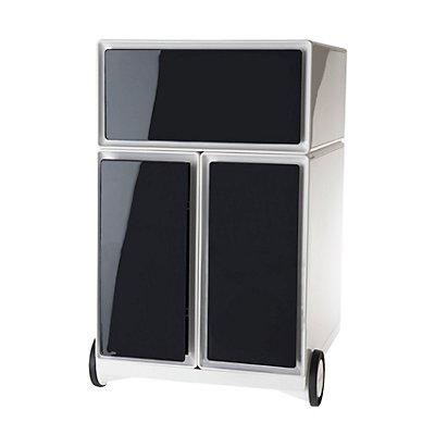Rollcontainer aus Kunststoff - 1 Schublade, 2 Hängeregistraturschübe - weiß / anthrazit