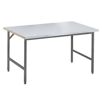 RAU Arbeitstisch, höhenverstellbar, 800 – 850 mm, Stahlblechbelag-Platte