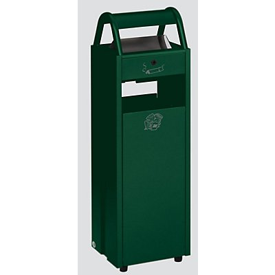 Abfallsammler mit Ascher und Regenschutzdach - Abfallvolumen 35 l, Aschervolumen 5 l