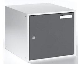 QUIPO Schließfachwürfel - HxBxT 350 x 400 x 450 mm - Korpus lichtgrau / Türen basaltgrau