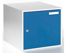 QUIPO Schließfachwürfel - HxBxT 350 x 400 x 450 mm - Korpus lichtgrau / Türen enzianblau