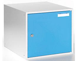 QUIPO Schließfachwürfel - HxBxT 350 x 400 x 450 mm - Korpus lichtgrau / Türen lichtblau
