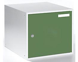 QUIPO Schließfachwürfel - HxBxT 350 x 400 x 450 mm - Korpus lichtgrau / Türen resedagrün