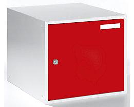 QUIPO Schließfachwürfel - HxBxT 350 x 400 x 450 mm - Korpus lichtgrau / Türen feuerrot