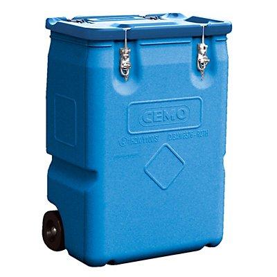 CEMO Gefahrstoff-Sammelbehälter mit 2 Rädern - Inhalt 170 l, Deckel rot