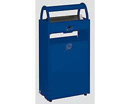 Abfallsammler mit Ascher und Regenschutzdach - Abfallvolumen 60 l, Aschervolumen 9 l - blau RAL 5010