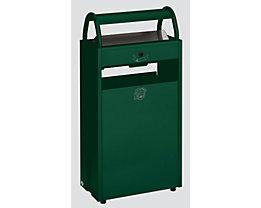 Abfallsammler mit Ascher und Regenschutzdach - Abfallvolumen 60 l, Aschervolumen 9 l - grün RAL 6005