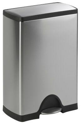 Edelstahl-Abfalleimer mit Pedal - Modell SQUARE - Volumen 50 l, inkl. Kunststoff-Innenbehälter
