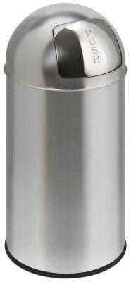 Collecteur de déchets en inox - BULLET PUSH, capacité 40 l - hauteur 740 mm, Ø 340 mm