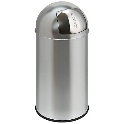 Edelstahl-Abfallsammler - BULLET PUSH, Volumen 40 l - Höhe 740 mm, Ø 340 mm