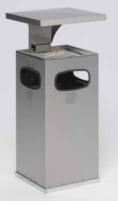 Abfallsammler mit Aschereinsatz - aus Edelstahl - Volumen Sammler ca. 38 l