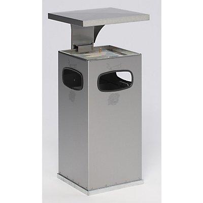 Collecteur de déchets avec cendrier - en inox - capacité collecteur 38 l