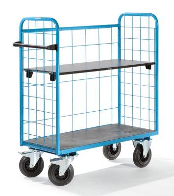 EUROKRAFT Universal-Etagenwagen, Tragfähigkeit 500 kg - Gitter 3-seitig