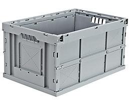 Faltbox aus Polypropylen - Inhalt 63 l, LxBxH 600 x 400 x 320 mm - grau, VE 4 Stk