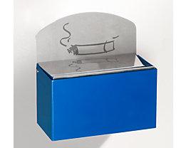 Wandascher mit Hinweisschild - Stahlblech, HxBxT 87 x 140 x 98 mm - enzianblau