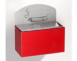 Wandascher mit Hinweisschild - Stahlblech, HxBxT 87 x 140 x 98 mm - feuerrot