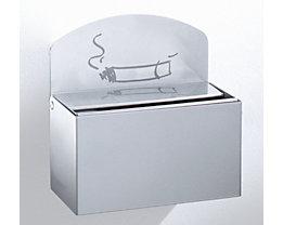 Wandascher mit Hinweisschild - Stahlblech, HxBxT 87 x 140 x 98 mm - silber