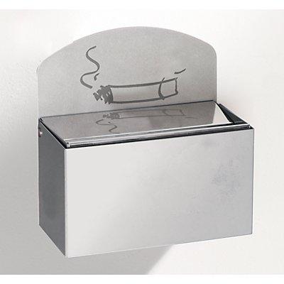 Wandascher mit Hinweisschild - Edelstahl, HxBxT 87 x 140 x 98 mm - rostfrei