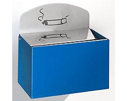 Wandascher mit Hinweisschild - Stahlblech, HxBxT 125 x 200 x 125 mm - enzianblau