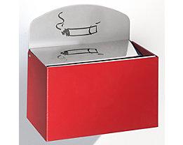Wandascher mit Hinweisschild - Stahlblech, HxBxT 125 x 200 x 125 mm - feuerrot