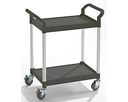 Allzweckwagen - 2 Etagen, Tragfähigkeit 200 kg - LxBxH 850 x 480 x 950 mm, schwarz