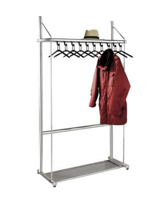 Reihengarderobe, alusilber - mit 10 Kleiderbügeln, Höhe 1850 mm