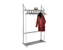 Reihengarderobe, alusilber - mit 10 Kleiderbügeln, Höhe 1850 mm - Breite 1040 mm