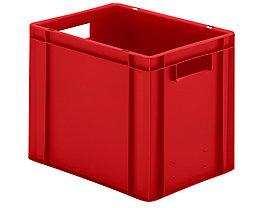 Euro-Format-Stapelbehälter, Wände und Boden geschlossen - LxBxH 400 x 300 x 320 mm - rot, VE 5 Stk