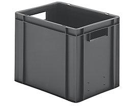 Euro-Format-Stapelbehälter, Wände und Boden geschlossen - LxBxH 400 x 300 x 320 mm - grau, VE 5 Stk
