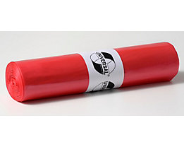 Sacs plastique - capacité 120 l, l x h 700 x 1100 mm - épaisseur matériau 25 µm, rouge, lot de 500