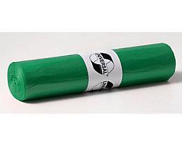 Kunststoffsäcke - Inhalt 120 l, BxH 700 x 1100 mm - Materialstärke 25 µm, grün, VE 500 Stk