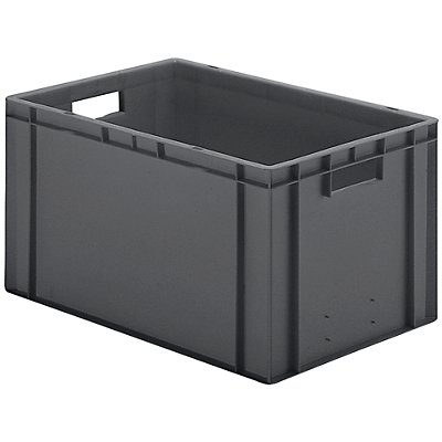 Euro-Format-Stapelbehälter, Wände und Boden geschlossen - LxBxH 600 x 400 x 320 mm - gelb, VE 5 Stk