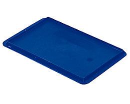 Auflagedeckel für Stapelbehälter - VE 4 Stück, LxB 300 x 200 mm - blau