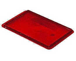 Auflagedeckel für Stapelbehälter - VE 4 Stück, LxB 300 x 200 mm - rot