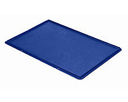 Auflagedeckel für Stapelbehälter - VE 4 Stück, LxB 600 x 400 mm - blau