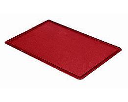 Auflagedeckel für Stapelbehälter - VE 4 Stück, LxB 600 x 400 mm - rot