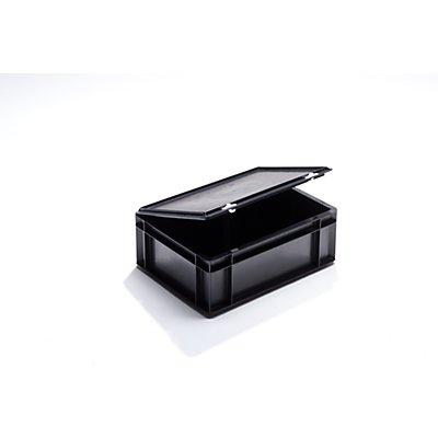 ESD-Stapelbehälter aus Polypropylen - Außen-LxBxH 400 x 300 x 145 mm - Inhalt 13 l, VE 4 Stk