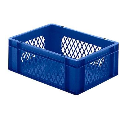 Euro-Format-Stapelbehälter, Wände durchbrochen, Boden geschlossen - LxBxH 400 x 300 x 145 mm - blau, VE 5 Stk