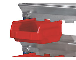 Sichtlagerkasten-Set, rot - für Aufhänge-Schiene - VE 70 Kästen à 0,26 l