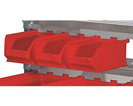 Sichtlagerkasten-Set, rot - für Aufhänge-Schiene - VE 70 Kästen à 0,8 l
