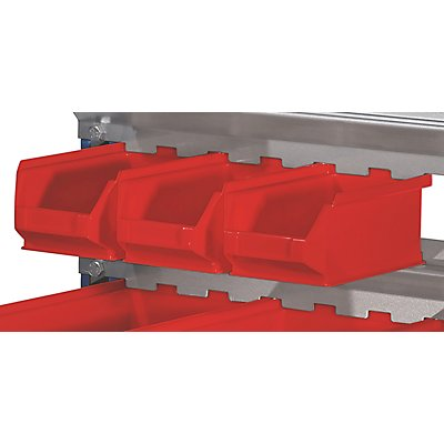 Sichtlagerkasten-Set, rot - für Aufhänge-Schiene