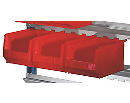 Sichtlagerkasten-Set, rot - für Aufhänge-Schiene - VE 28 Kästen à 3,3 l