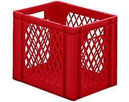 Euro-Format-Stapelbehälter, Wände durchbrochen, Boden geschlossen - LxBxH 400 x 300 x 320 mm - rot, VE 5 Stk